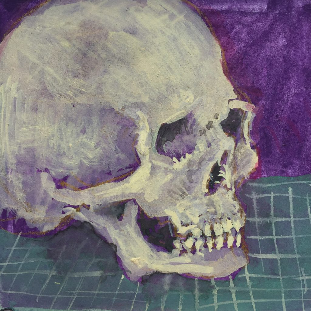 A loose painting of a skull on a green gridded cutting mat with a purple background.