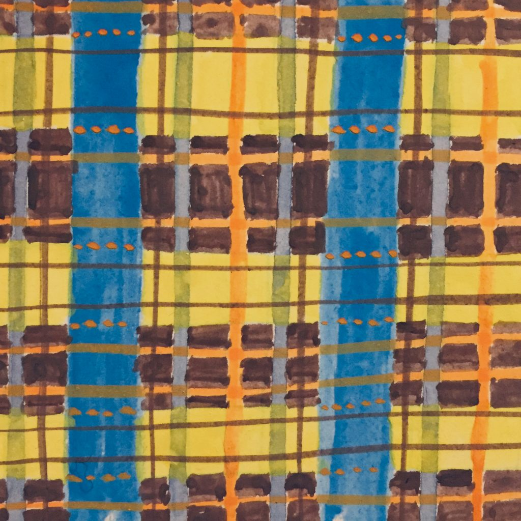 A loose painting of plaid stripes.