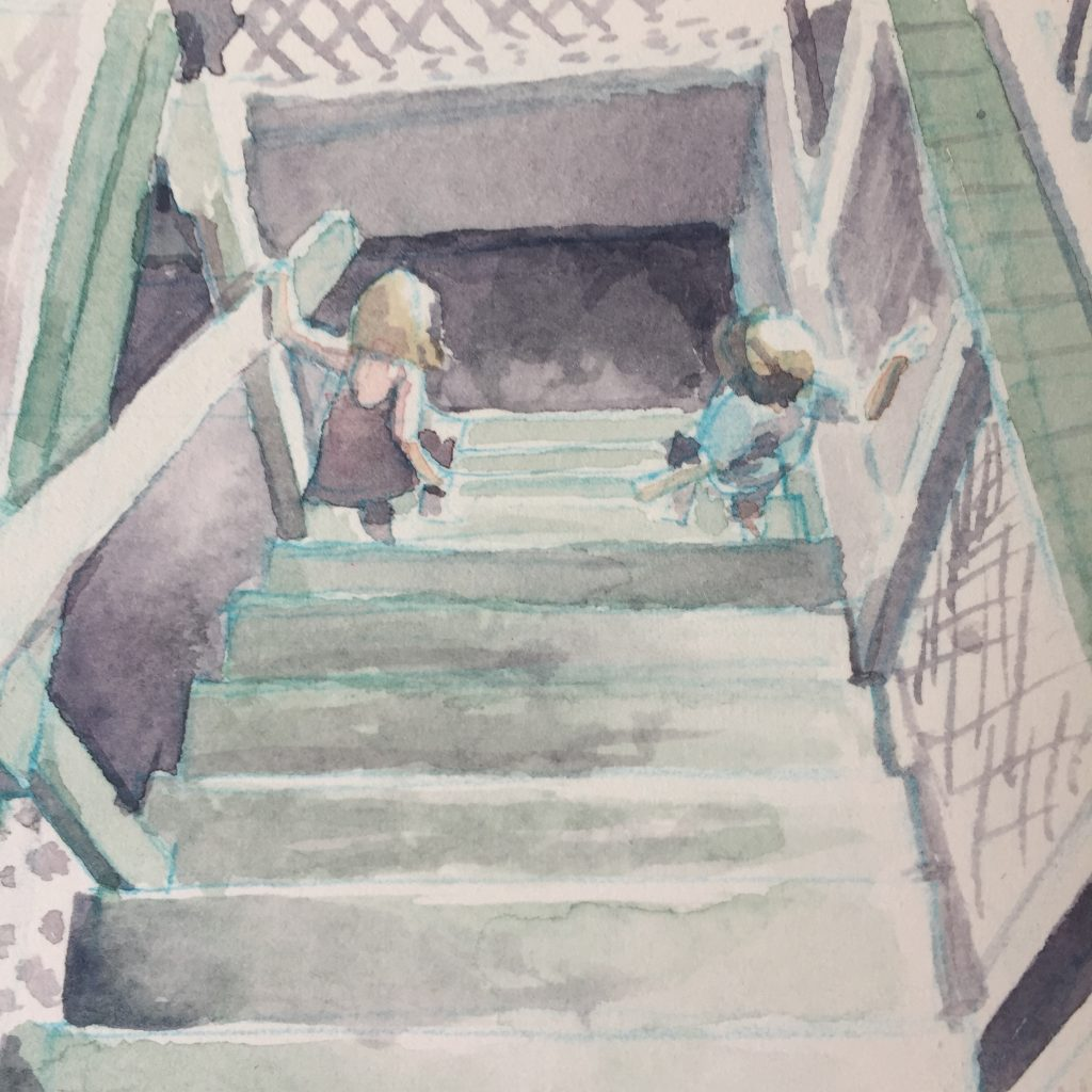 A loose gouache painting of two small people descending a staircase. They are viewed as if from the top of the staircase.