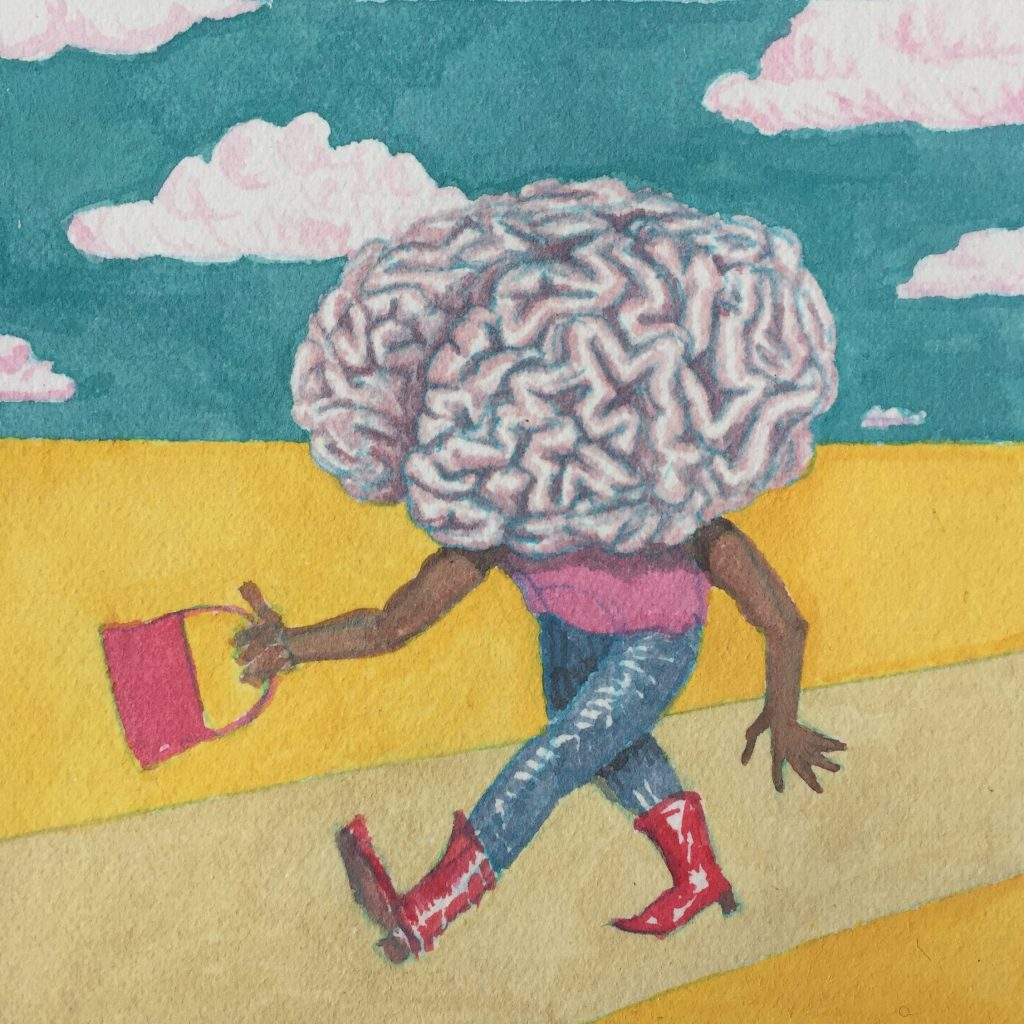 A woman's figure with a large brain for a head. She's wearing red boots and swinging a red purse.