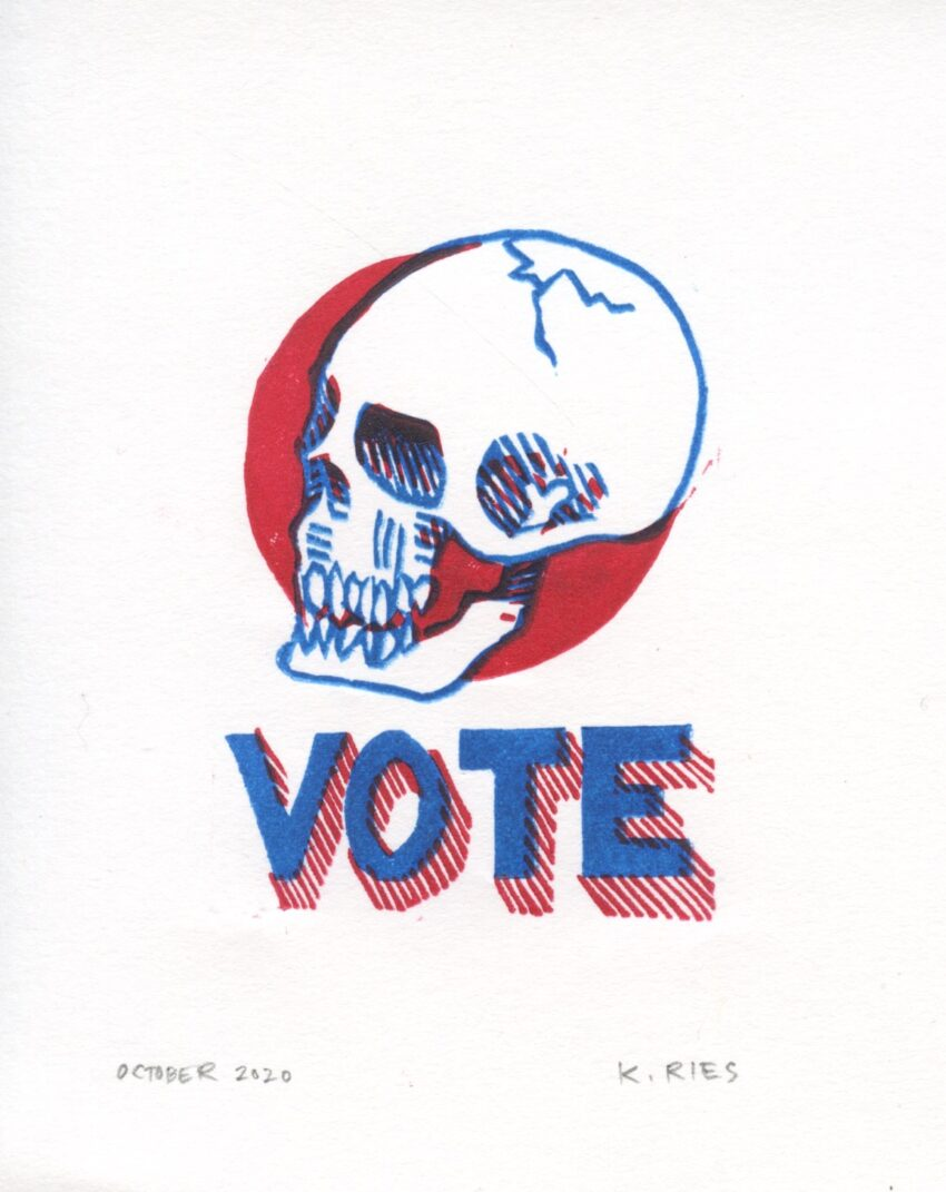 An image of a blue line drawing of a skull in front of a red circle. Below the skull are blue letters that read VOTE.