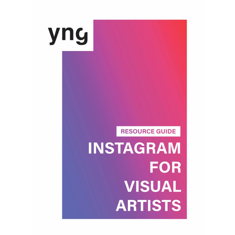 """Image shows a rectangle with a gradient of colors that change from purple to pink to red. Over the rectangle words that read: yng and """"Instagram for Visual Artists."""""""