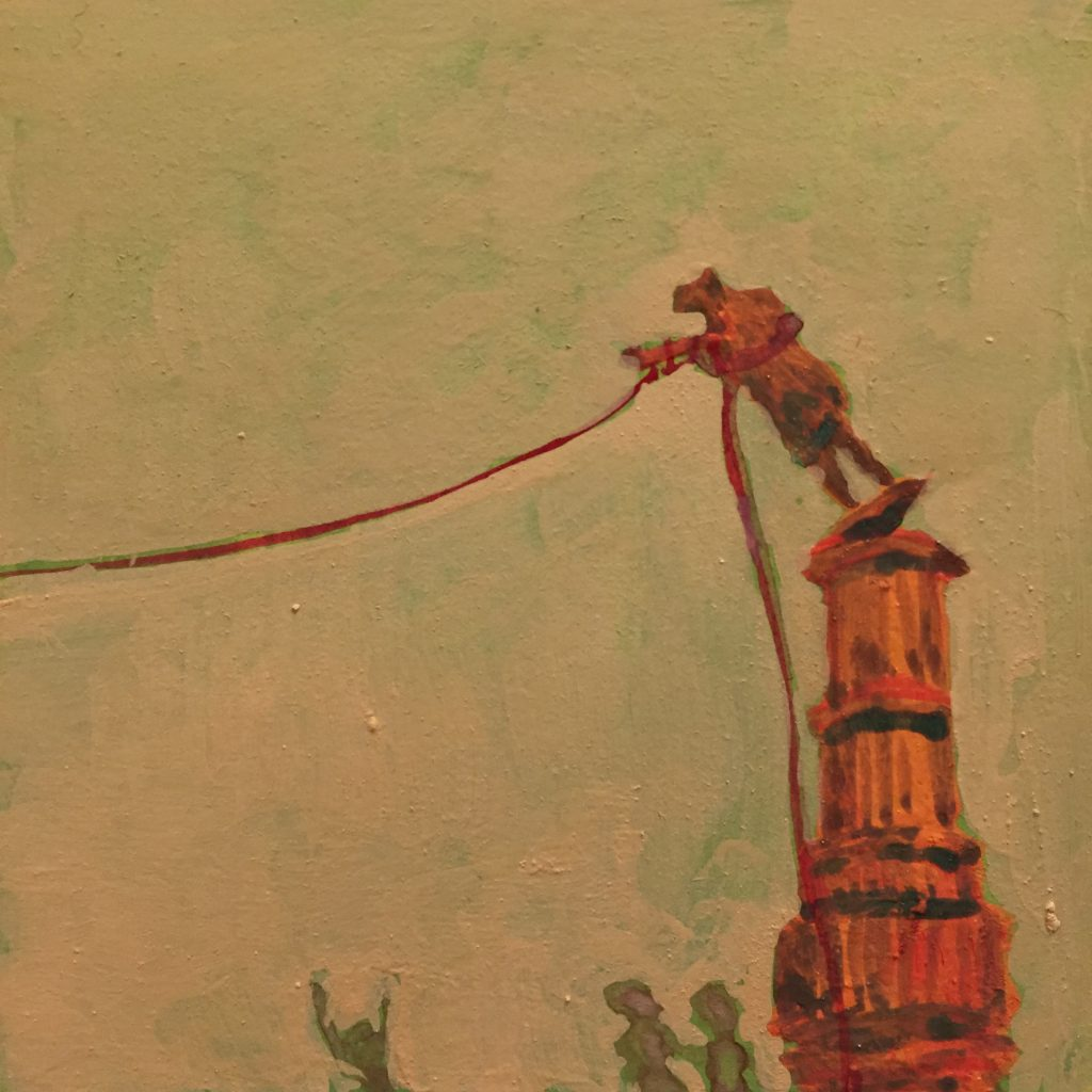 A loose painting of a statue mid-tilt as it is pulled off its pedestal by a rope that extends off the page. Three small figures watch from the ground.