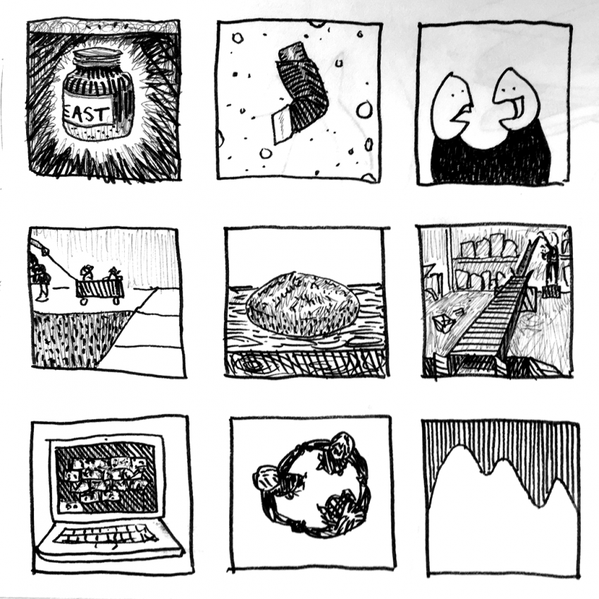 A 3 by 3 grid of small simple black and white drawings.