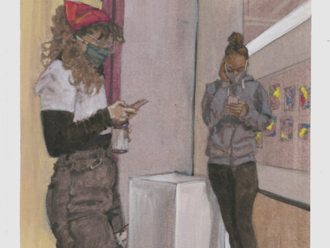 A painting of two women wearing masks and looking down at their cell phones.